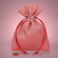 """Set of Six Fabric Gift Bags Red Gingham Material - 5"""" x 7"""""""
