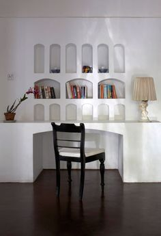 Geoffrey BAWA - I love the use of niches for the shelves of the bookcase. A simple design with a lot if impact.