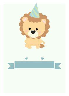 Baby Boy 1st Birthday Party, 1st Boy Birthday, Birthday Cards, Lion Party, Cartoon Lion, Baby Shower Niño, Baby Shawer, Paper Crafts, Diy Crafts