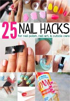 25 Nail Hacks for Nail Polish, Nail Art & Cuticle Care. And kid nail hacks! Love Nails, How To Do Nails, Pretty Nails, Cuticle Care, Nail Care, Do It Yourself Nails, Nagel Hacks, Nagellack Design, Nails Polish