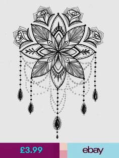 Mandala Illustration - Tattoo Art - Pen and Ink Drawing - Giclee Print - Tattoos Pictures