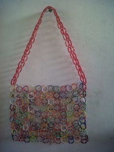 beach bag made out of plastic necks from plastic bottles - RECYCLING