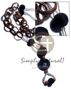 Basket Rings Kukui Wrapped Wood Beads/ Wrapped Wood Ring And Glass Beads / In Black & Brown Tones Long Endless Necklace Fashion Accessories, Fashion Jewelry, Native Style, Wood Rings, Wholesale Jewelry, Stone Jewelry, Horns, Black And Brown, Philippines