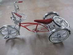 Low-rider Tricycle 3 Wheel Trike Bicycle Red & Chrome... This is a great custom low rider Tricycle in good condition..