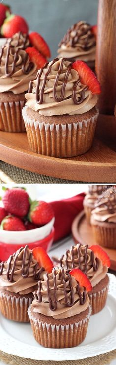 Nutella Cupcakes - moist Nutella cupcakes with Nutella frosting!
