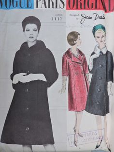 SeeSallySew.com - Paris Designer Jean Desses Coat Vintage Vogue 1117 Pattern Sz. 18  , $22.00 (http://stores.seesallysew.com/paris-designer-jean-desses-coat-vintage-vogue-1117-pattern-sz-18/)