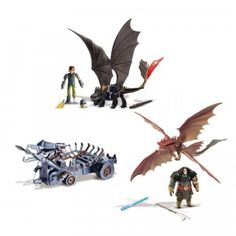 The How to Train Your Dragon 2: Power Dragon Attack Set includes two Power Dragon Figures of Toothless and Cloudjumper, plus Hiccup and Drago.