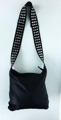 Black Veronica Mars Bag with Silver Snaps Plain by karenkalashnik