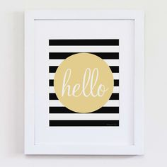 Hello Typography Printable Art | Striped Print for Wall Decor DIY Decoration or Gift | Nursery Wall Decor by PennyJaneDesign on Etsy https://www.etsy.com/listing/197468894/hello-typography-printable-art-striped