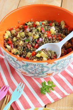 Salade de lentilles vertes aux petits légumes (2) Salad Recipes, Vegan Recipes, Weigth Watchers, Entrees, Good Food, Food And Drink, Vegetarian, Nutrition, Lunch