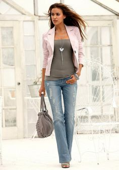 31 Street Style  Street Fashion. blazer and weathered jeans. and jeans shape--love the necklace too!