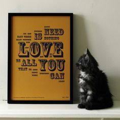 Love is All You Need limited edition letterpres print designed by WastedAndWounded on Folksy
