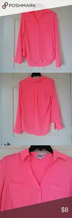 Pink Express Button Down Long sleeve buttons down with two front pockets on bust,V-shaped neckline. Express Tops Blouses