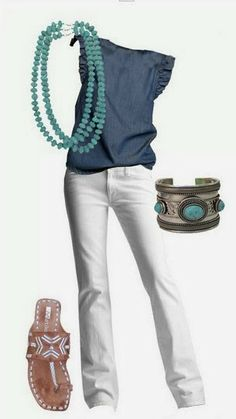 The Cool Denim Blouse and White Jeans