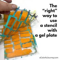 """printmaking, gel printing, What is the """"right"""" way to use a stencil with a gel plate? Video showing you 2 different ways to do it by Carolyn Dube Stencil Printing, Gelli Plate Printing, Gel Press, Gelli Arts, Plate Art, Fabric Painting, Watercolor Fabric, Elementary Art, Altered Art"""