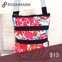 """NGIL WATERCOLOR BLOSSOM CROSSBODY BAG WITH NAVY Perfect for those all-day shopping trips, traveling, or anytime you want to go out with just the bare necessities!   Soft Canvas Construction Zip Top Closure Fully Lined 2 Front Zip Pockets Adjustable Shoulder Strap with Max. 22"""" Drop 8"""" Wide x 10"""" Tall NGIL Bags Crossbody Bags"""