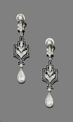 A pair of art deco diamond and enamel pendent earrings, circa 1925