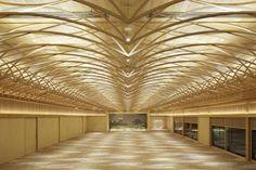 高さ2570mmの宴会場の天井を覆う21mm角のスチール格子に取り付けたLED照明で天井を照らす。鳳凰が羽を広げた様子をイメージしている(写真:ナカサアンドパートナーズ中道淳)