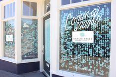 Dahlia Press Shop/Studio space window display coming soon sign
