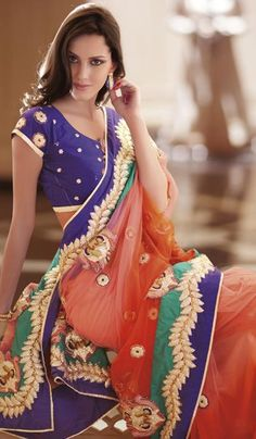 Shaded Orange Net Embroidered Party Wear Saree.    Product Code : G3-LS7724  Price : INR RS 15800