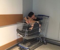 Ulzzang boy faceless cuddly toy shopping cart drunk smiling Korean Fashion Black Clothes