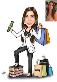 Caricaturas digitais, desenhos animados, ilustração, caricatura realista: Desenho de formanda de Medicina !