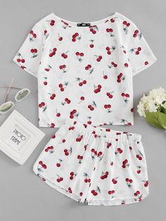 Shop Cherry Print Top And Shorts Pajama Set online. SheIn offers Cherry Print Top And Shorts Pajama Set & more to fit your fashionable needs. - Pajama Sets - Ideas of Pajama Sets Cute Pajama Sets, Cute Pjs, Cute Pajamas, Summer Pajamas, Pajama Outfits, Pajama Shorts, Yoga Shorts, Teen Fashion Outfits, Girl Outfits