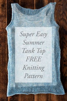 Terrific Pictures summer knitting projects Suggestions TRUTHFULNESS Tank Top Summer Knitting Pattern by Brome Fields Knitting Blogs, Easy Knitting, Loom Knitting, Knitting Patterns Free, Knit Patterns, Knitting Stitches, Knitting Ideas, Knitting Machine, Summer Knitting Projects