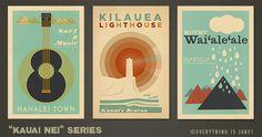 Kauai Nei  Series  12 x 18 Retro Hawaii Prints by EverythingIsJake, $48.00