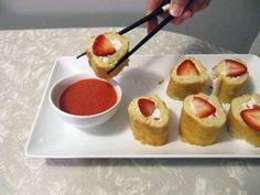 Strawberry Shortcake Sushi -  'Take a Megabite' Surely Makes a Scrumptious Sweet Sushi Snake