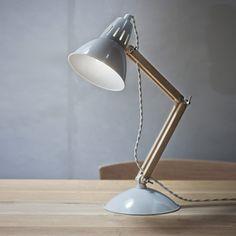 Lampe de bureau en chêne et acier blanc cassé Bermondsey