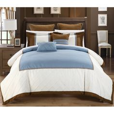 Chic Home Grenville 11-Piece Bed in a Bag Comforter Set, Sheet Set, Shams and Decorative Pillows included, Blue/Brown