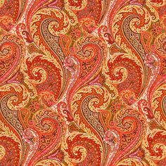 Orange Linen Paisley Upholstery Fabric by the Yard - Pink Orange Curtain Material - Paisley Headboard Fabric - Modern Paisley Home Decor