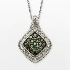 """Sterling Silver 1/3-ct. T.W. Green and White Diamond Square Halo Pendant, Women's, Size: 18"""""""