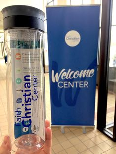 Each bottle is filled with an info card and given as a gift to every first-time visitor at our church welcome center!