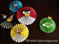Angry Birds Party Decor Set of 5 Angry Birds - Large Paper Rosettes/ Fans