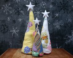 Heirloom Antique Quilt Table Top Trees--great idea for my old cutter quilt pieces!