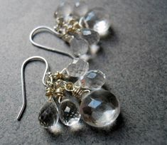 Teardrop Earrings, Gemstone Earrings, Etsy Earrings, Pearl Earrings, Clear Quartz, Quartz Crystal, Chandelier Earrings, Beautiful Earrings, Gemstones