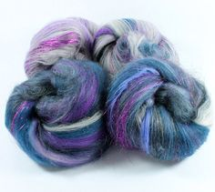 Moonlight - Merino Wool, corriedale, silk, alpaca, noils and sparkles - Carded Batts - Approx 4ozs