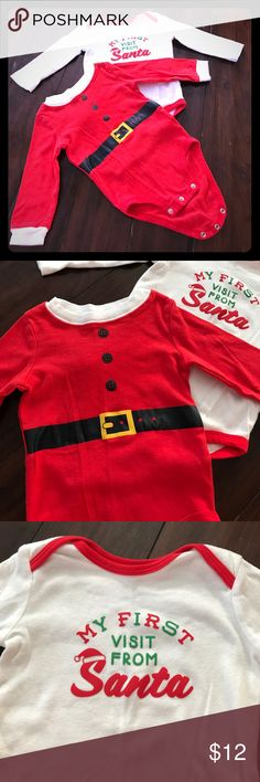 ✨2 santa onsies✨ A pair of Carters onsies for Christmas  used once (Christmas eve) your babies first visit from Santa should be in style. Comes with the santa outfit and the my first Christmas onsie. So cute. Carter's One Pieces Bodysuits
