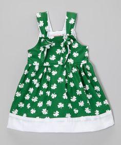 Green Shamrock Tie Dress - Toddler & Girls