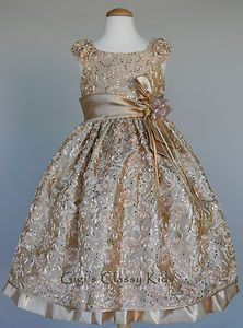 New Girls Gold Champagne Dress Size 6 Christmas Wedding Flower Holiday Fancy | eBay