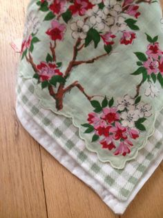 Upcycled Vintage Linen Bandana Bib Mint Green Cherry Blossom ONE