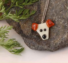 Fused glass dog pendant. $8.00, via Etsy.