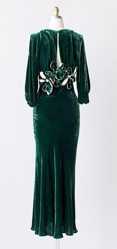 harlean harlow | vintage 1930s green silk velvet gown dress