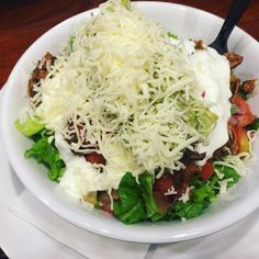 """""""Dinner: Yummy Mexican salad bowl with guac, sour cream, cheese, salsa and barbacoa. #Keto #lowcarb #Mexican #lchf"""""""