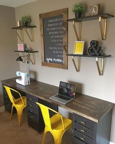 60 favorite DIY office desk design and decoration ideas . - 60 favorite DIY office desk design and decoration ideas - Diy Office Desk, Home Office Space, Home Office Desks, Home Office Furniture, Diy Desk, Double Desk Office, Office In Bedroom Ideas, Ceo Office, Kids Office
