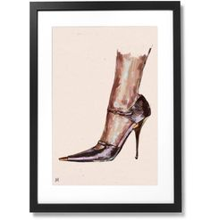 """Framed Tom Ford SATIN MARY JANE PUMP Print, 16"""" X 24"""" Mary Jane Pumps, Thom Browne, Black Wood, Conceptual Art, Solid Black, Tom Ford, Mary Janes, Toms, Museum"""