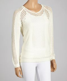 Take a look at the High Secret White Loose-Knit V-Neck Sweater on #zulily today!