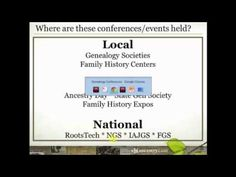 Did you know that there are dozens of genealogy conferences and events held around the country every year? And Ancestry.com participates in many of them. If you've always wanted to attend but don't know what to expect, join Crista Cowan as she shares how to get the most out of these amazing #genealogy education and networking experiences and how to select the one that is best for you.